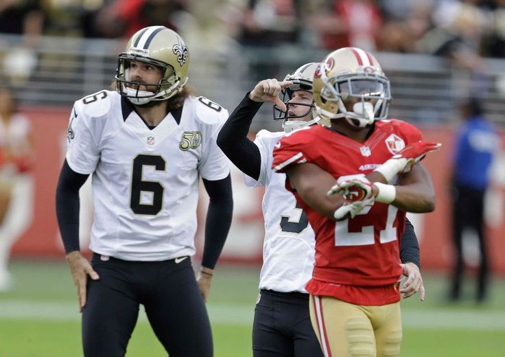 Saints vs. 49ers:  November 6, 2016  -  41-23, Saints  -     New Orleans Saints kicker Wil Lutz, center, reacts after missing a 48-yard field goal as holder Thomas Morstead (6) looks on during the second half of an NFL football game against the San Francisco 49ers, Sunday, Nov. 6, 2016, in Santa Clara, Calif. 49ers cornerback Keith Reaser, right, gestures.