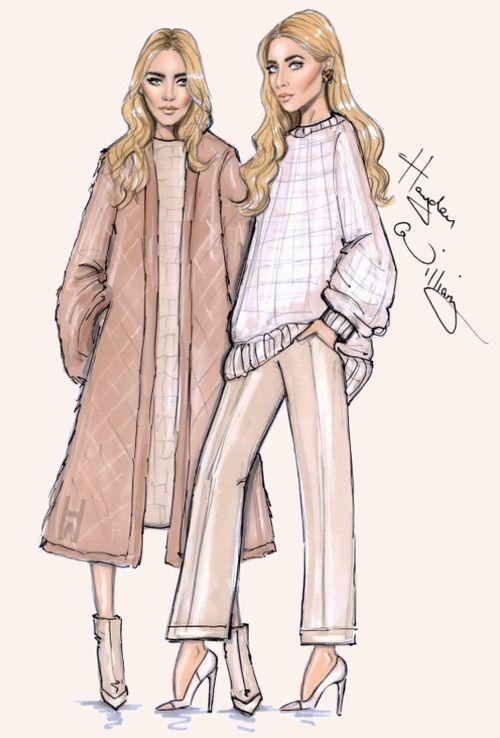 Image via We Heart It #blonde #classy #fashion #girls #luxury #olsentwins #sketch #white #haydenwilliams #haydenwilliamsdesign
