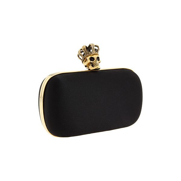 Alexander McQueen - 253129F140G Queen Skull (Black) - Bags and Luggage ($1,276) ❤ liked on Polyvore featuring bags, handbags, clutches, purses, bolsas, alexander mcqueen, couture, women's handbags, hard clutch and clasp purse