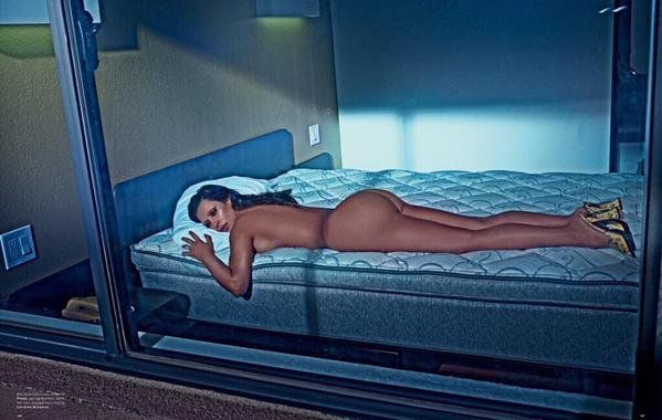 Pin for Later: Your Daily Dose of Naked Kim Kardashian Is Here  Kim relaxes on an un-made bed wearing nothing but heels in the latest pictures from Love magazine.