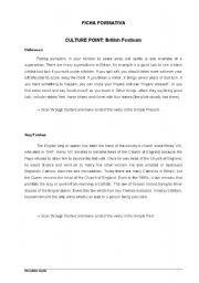 English Worksheets: British Festivals / Verbs Revision