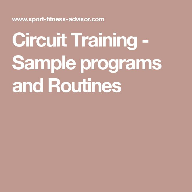 Circuit Training - Sample programs and Routines