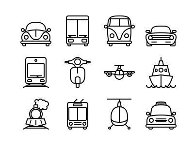 12 Transport icons by Kornikow Roman