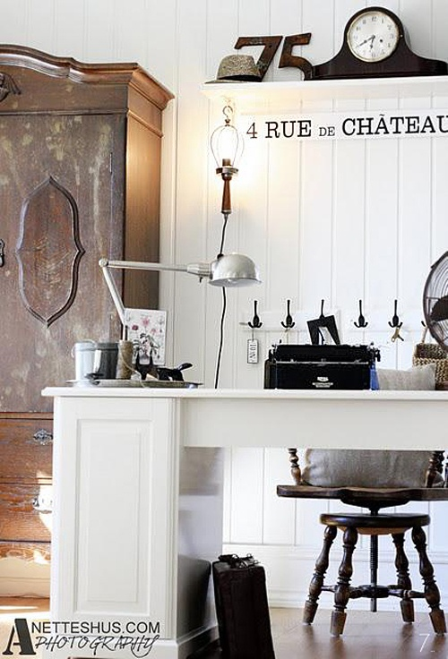white beadboard + vintage armoire for office storage