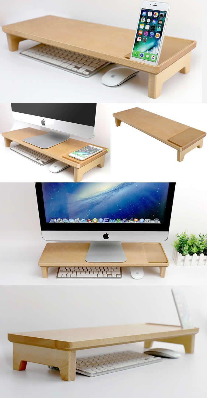 Wooden Unibody Monitor Imac Stand Holder Office Desk Organizer Phone Stand Holder Over The Keyboard Desktop Organization Home Office Setup Desk Organization