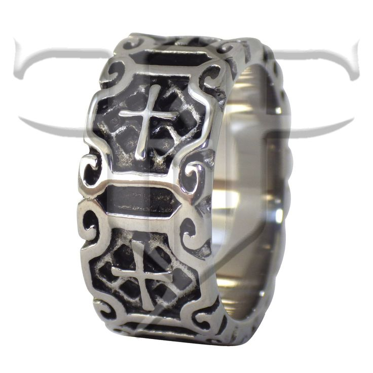 Mens Cross Ring Stainless Steel Medieval Gothic Band