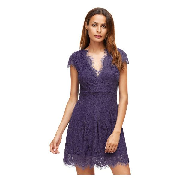 Purple Deep V Neck Cap Sleeve Lace Dress (45 BAM) ❤ liked on Polyvore featuring dresses, purple lace cocktail dress, deep v neckline dress, lace cap sleeve dress, low v neck dress and purple cap sleeve dress