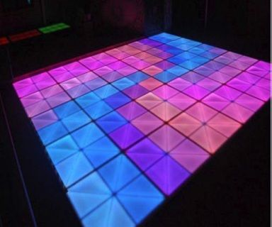 LED Dance Floor Colourful Super Bright  AC110-240V  LED 648 Pieces 5mm  Power Consumption 100 Watts  Size 1000 x 1000 x 100mm Panels  Net Weight 33kg  IP Rated IP20  Load Rating 800kg/m  Surface Material 10mm Semi Translucent Acrylic  27 Chanel DMX controllable  Sound Active & Auto Mode