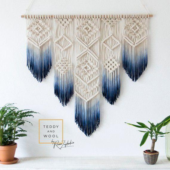 "Macrame Wall Hanging – Macrame Curtain – Macrame Wall Art – Geometric Art – Wall Tapestry – Macrame Headboard – Dyed Boho Ombre – ""ISA"""
