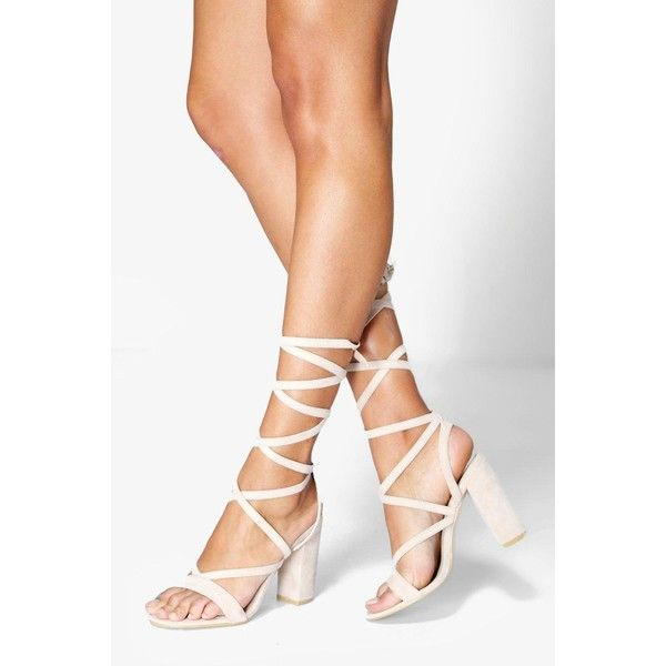 Boohoo Bella Wrap Strap Two Part Block Heel ($39) via Polyvore featuring shoes, sandals, nude, strappy high heel sandals, flatform sandals, block-heel sandals, summer sandals and strappy block heel sandals