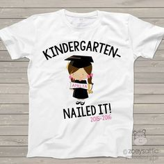 personalized kids shirts, kindergarten completion girl, graduation t-shirt