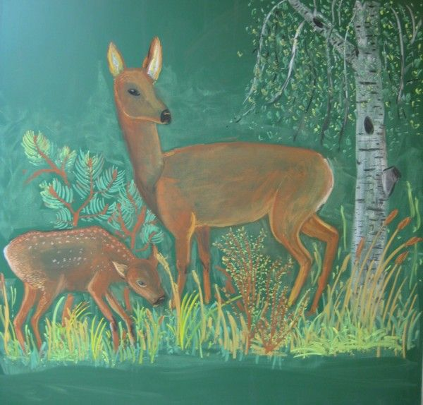 Waldorf ~ 4th grade ~ Human & Animal ~ Deer ~ chalkboard drawing