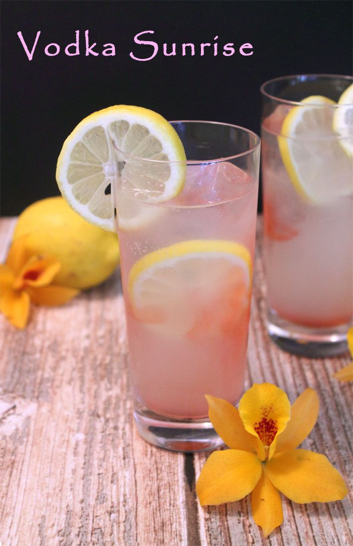 Vodka Sunrise A refreshingly light cocktail with lemon soda and vodka that is perfect for lazy summer days.