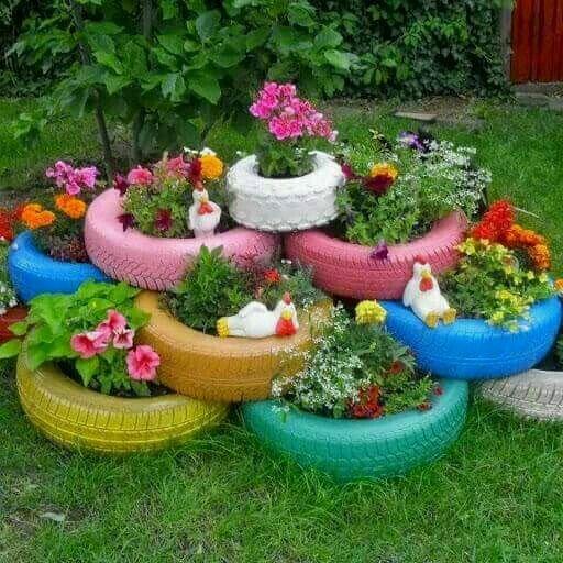 Porta fiori con gomme