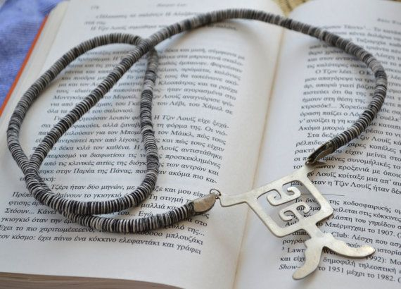Boho cord necklace with large alpaca silver pendant by fanoulala