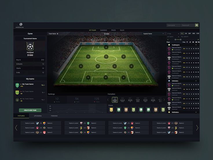 Fantasy soccer application concept by Albert Kay