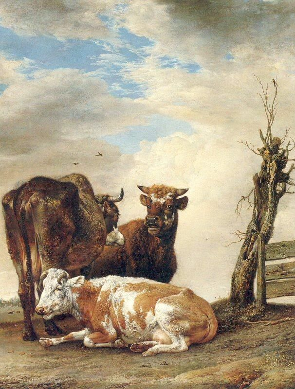 Paulus Potter | POTTER, Paulus Two Cows a Young Bull beside a Fence in a Meadow
