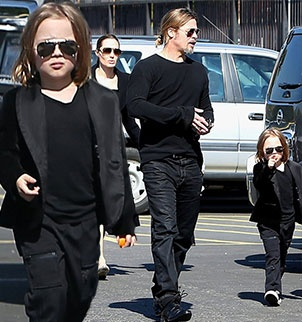 Knox Jolie Pitt looking like Brad Pitts mini me. There's something weird about this.