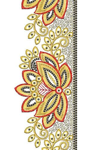 Pashtun Embroidery   Sequins Lace Border Brocade