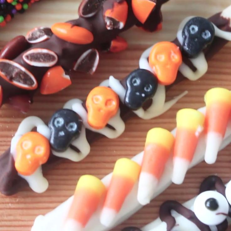 decorate your homemade pocky with leftover halloween candy for a 2 in 1 treat