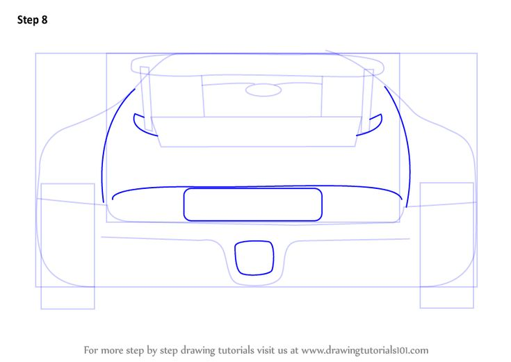 Learn How to Draw a Bugatti Veyron Rear (Sports Cars) Step by Step : Drawing Tutorials