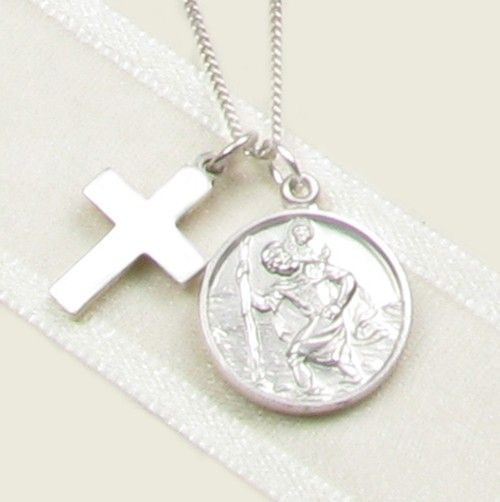 Templeton & May Sterling Silver St. Christopher & Cross Necklace for Christenings