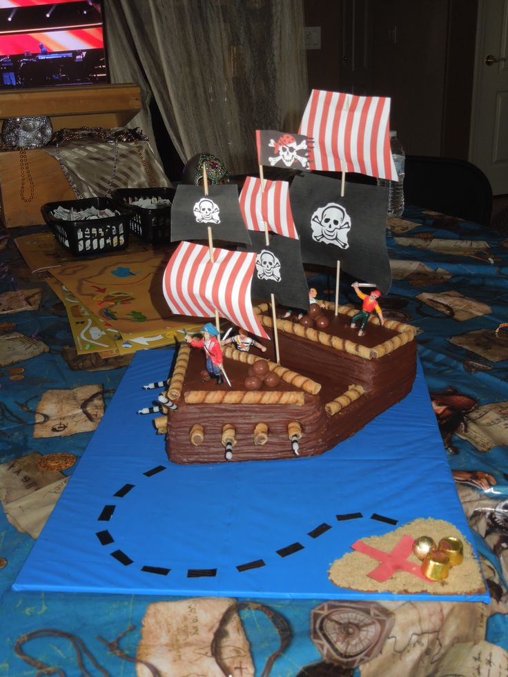 Use Playmobil pirate pieces, crush cookies for island, use candy for dotted line!