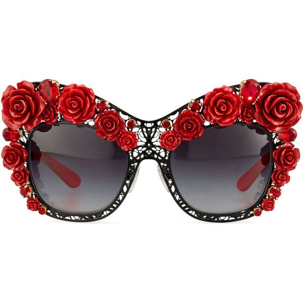 83bc53399567 Dolce Gabbana Dolce Lace Rose Rhinestone Cat-Eye Sunglasses, Black/Red  ($2,850) ❤ liked on Polyvore featuring accessories, eyewear,…