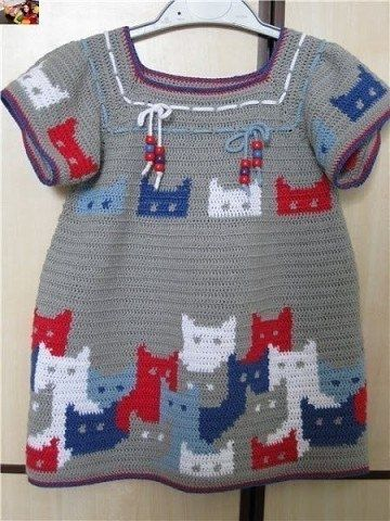 Платье крючком с котятами. Схемы жаккарда
