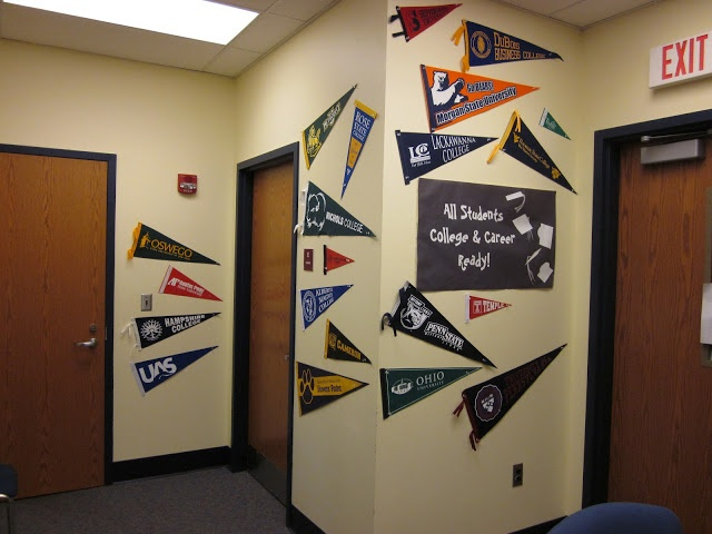 Contact college admissions offices to get free pennants to decorate counseling office.