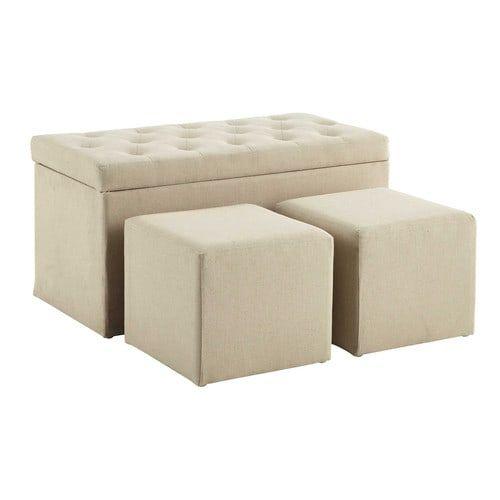 Marceau - Coffre banc + 2 poufs en coton beige L 79 cm