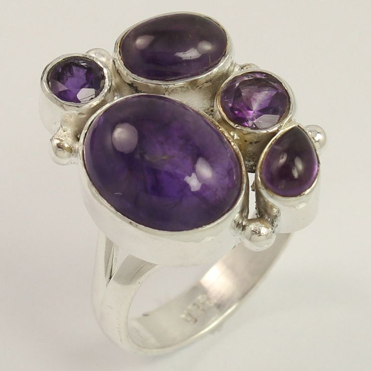 925 Sterling Silver Jewelry Ring Size US 7 Natural AMETHYST Gemstone ! Wholesale #Unbranded