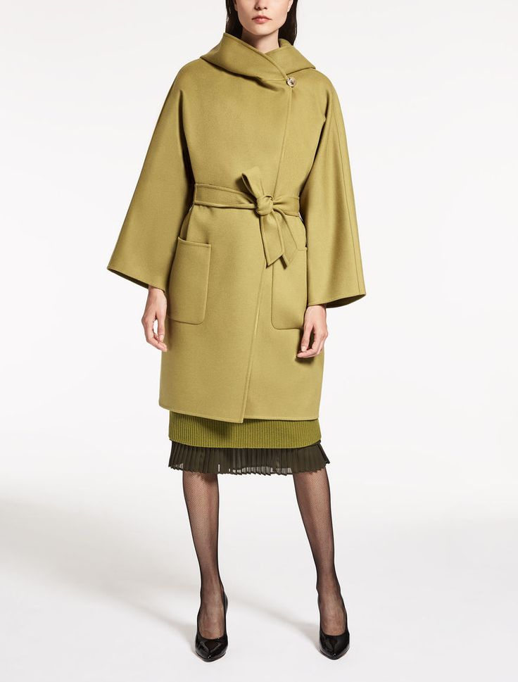 Max Mara MATERA olive green: Wool and angora coat.