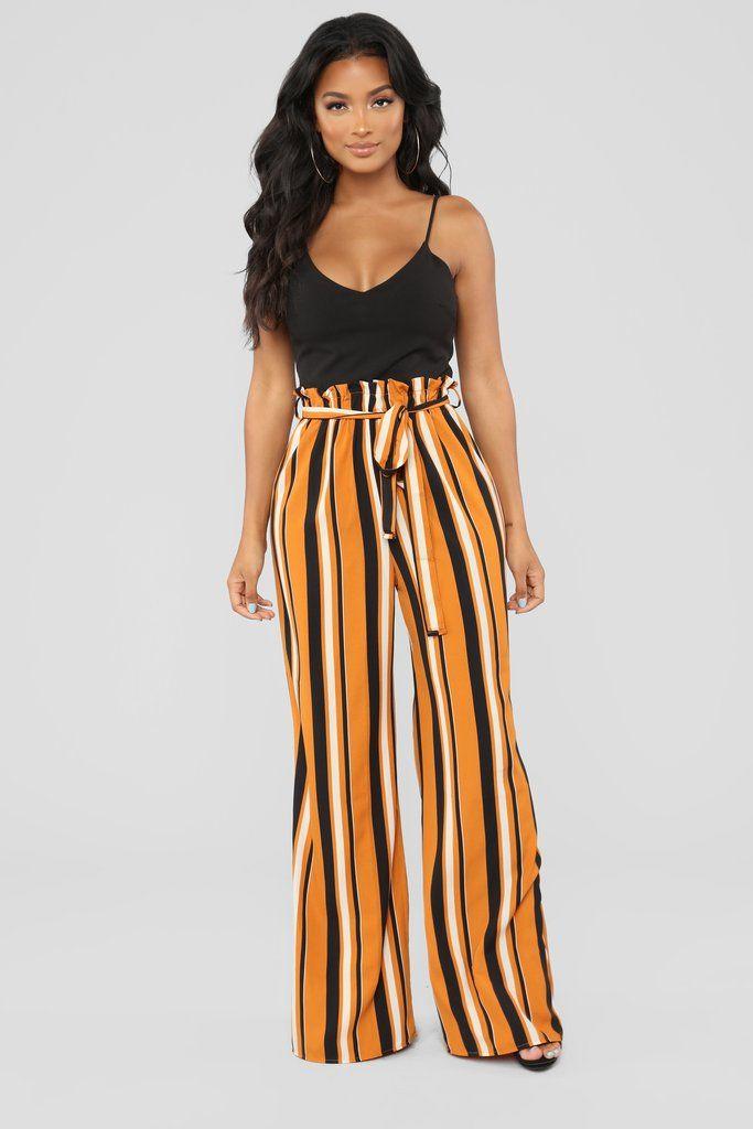 853b5a9372e Skip The Basics Multi Stripe Jumpsuit - Black Mustard