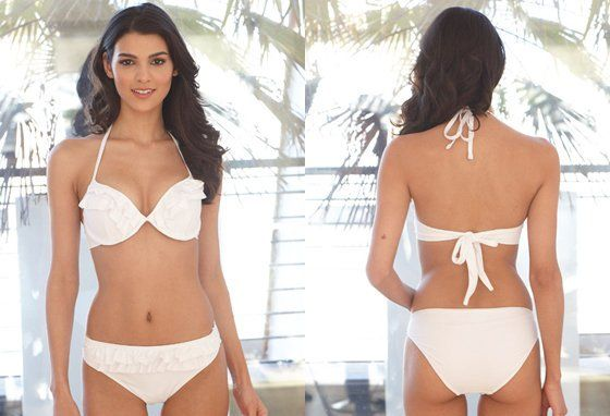 The pretty ruffles bikini is designed and handmade by our Max sewing team!