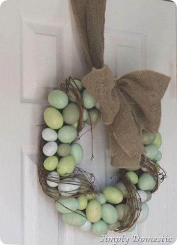 Burlap Egg Wreath