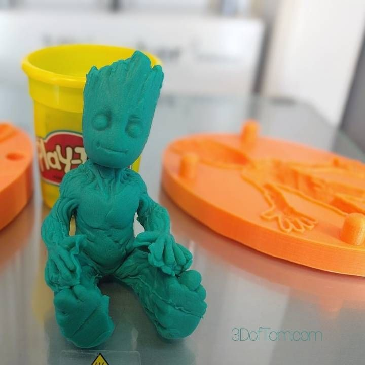 3D Printable Baby Groot Clay Mold             by Tom Davis