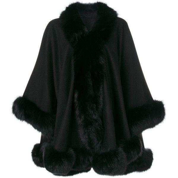 Liska fur trim cape ($1,860) ❤ liked on Polyvore featuring outerwear, black, cape coat, fur trimmed cape, fur trimmed cape coat and liska