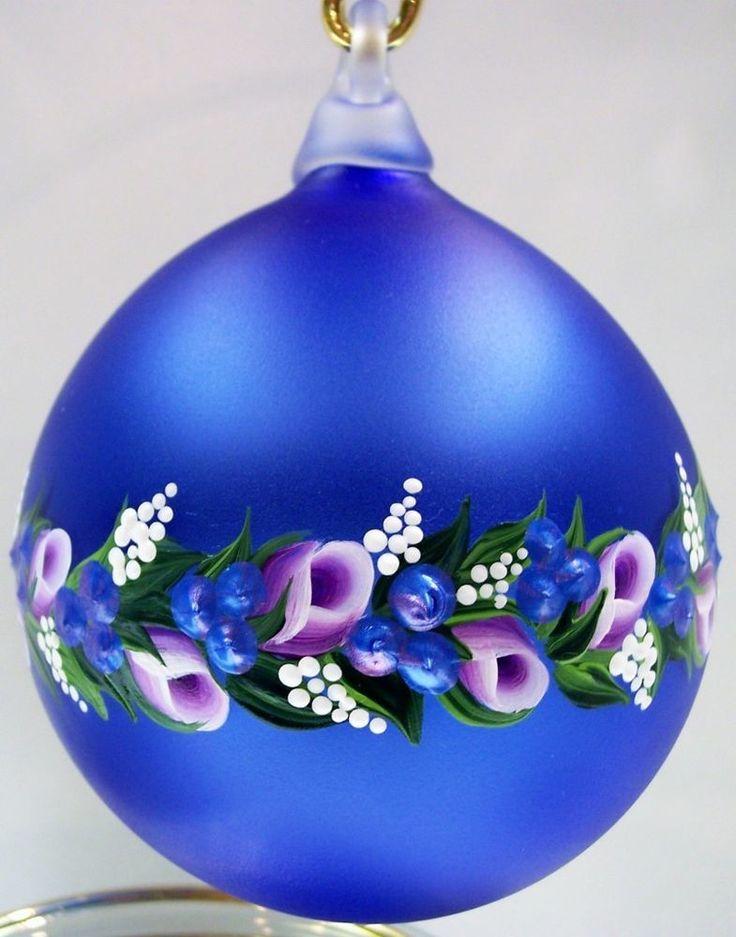 Fenton ORNAMENT Blown Ball 3 Inch COBALT BLUE SATIN Rosebud Garland * OOAK #Fenton