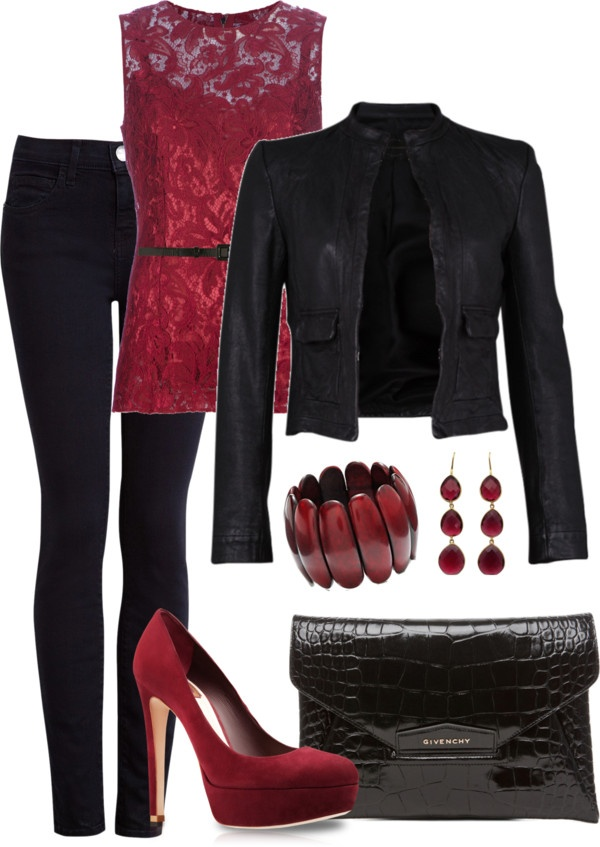 """""""Leather and Lace"""" by averbeek on Polyvore different jacket for me but gorgeous"""