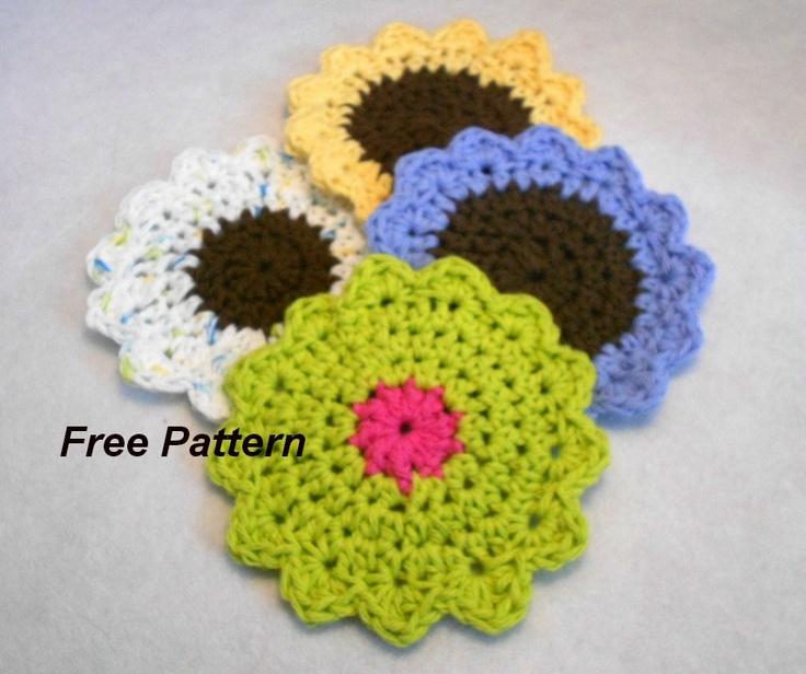 Free Crochet Pattern For Mug Rug : Sunflower mug rug coaster pattern to crochet