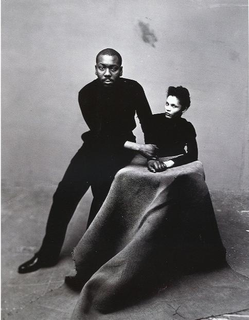 """African American artist Jacob Lawrence and wife, fellow artist Gwendolyn Knight. Lawrence referred to his style as """"dynamic cubism"""", though by his own account the primary influence was not so much French art as the shapes and colors of Harlem."""