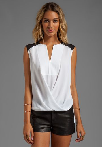 BCBGMAXAZRIA Split Front Color Block Top in White - love the top, not the shorts