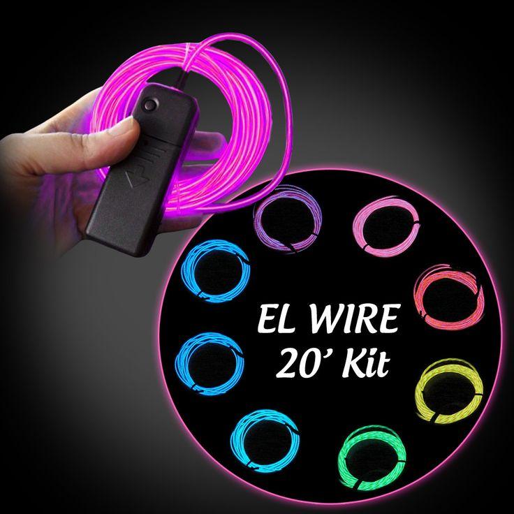 EL Wire Ready Kit - 20 ft wire plus battery pack - Flashingo