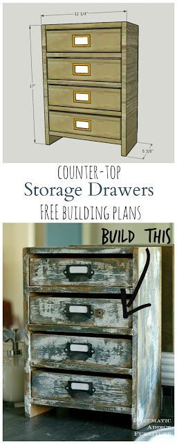 Build your own set of small, rustic drawers to store bathroom supplies or almost anything. TWO sets of free building plans! One WITHOUT a table saw!
