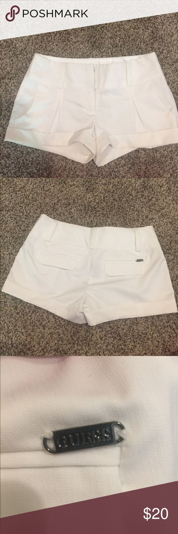 White Guess shorts White Guess shorts. Bought new at an off-price retail store store (kind of like a TJ Maxx or Marshalls). Never worn! Guess Shorts