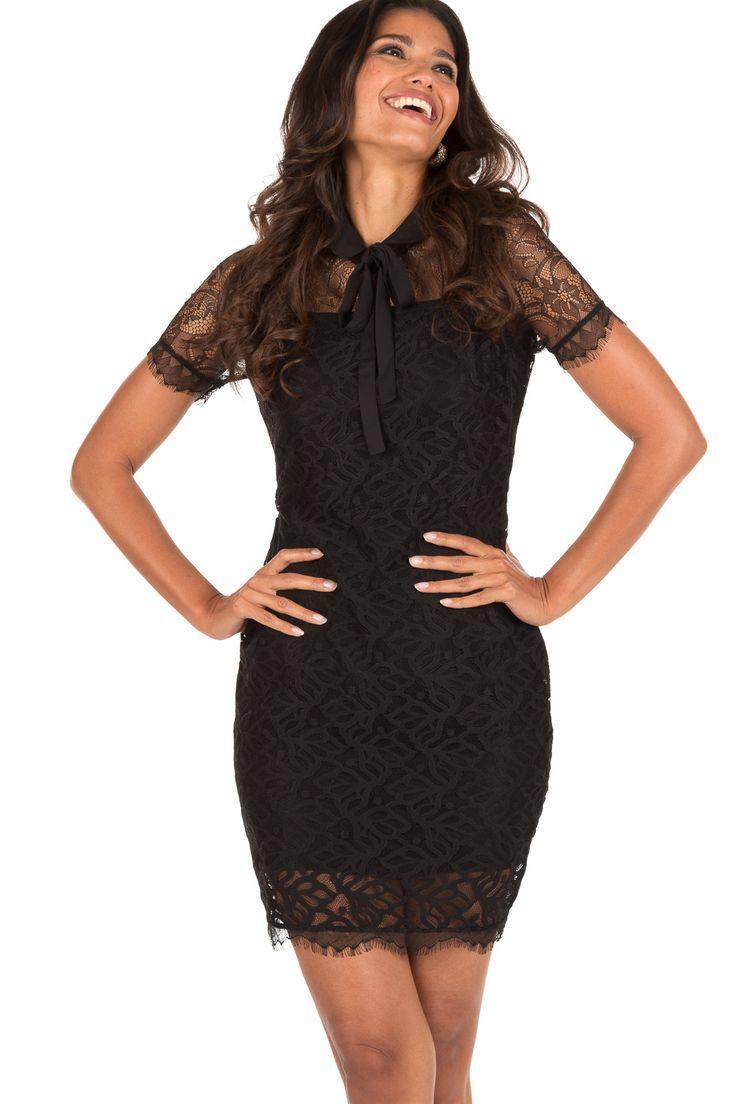 Zwarte kanten jurk kort