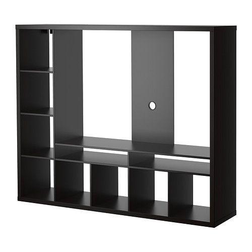 IKEA - LAPPLAND, MobileTV, marrone-nero, , I ripiani si possono collocare a destra o a sinistra: scegli in base alle tue esigenze.Il pannello di fondo è rinforzato per sostenere una TV a schermo piatto.2 scomparti a giorno per il lettore di DVD o altro.L'apertura sul lato posteriore ti permette di raggruppare e organizzare i cavi.