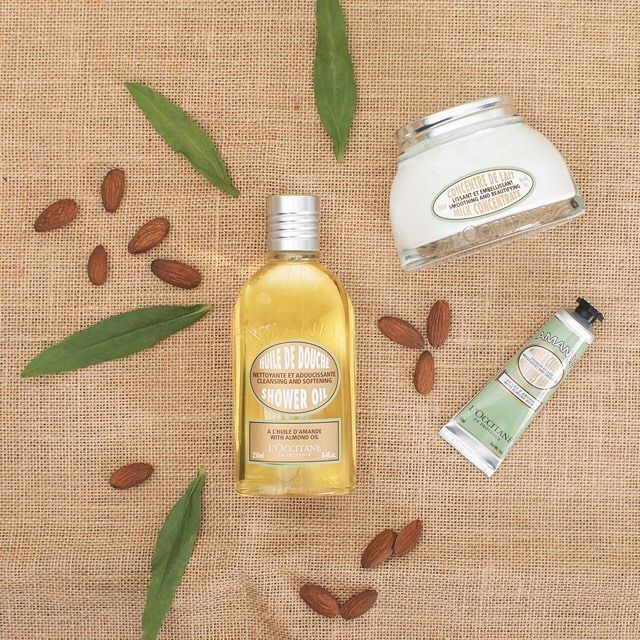 Enriched with almond oil, milk, and proteins, our Almond range helps to soften skin and leaves it subtly scented with the mouthwatering fragrance of fresh almonds. #loveloccitane