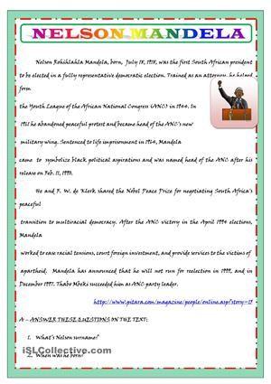 NELSON MANDELA'S BIOGRAPHY FOR KIDS worksheet - Free ESL printable worksheets made by teachers